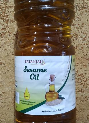 Кунжутное масло Sesame oil Patanjali 1 литр Индия перв хол отжим