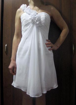 Платье белое короткое выпускное свадебное вечернее корсет отде...