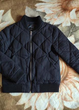 Zara man куртка бомбер черная весна осень р s