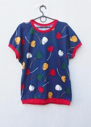 Хлопковая трикотажная пижама футболка + шорты в тюльпаны