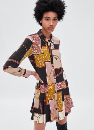 Платье zara платье рубашка в принт от zara