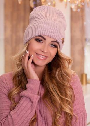 Двуслойная акриловая шапка-колпак,осень-зима
