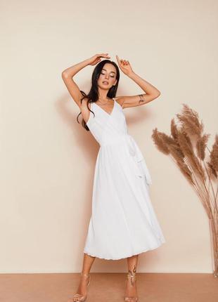 Нарядное платье миди шлейки свадебное на розпись