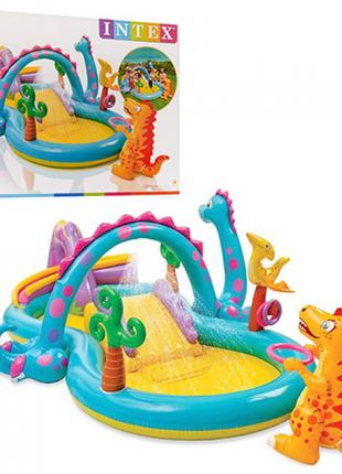 Ігровий надувний центр Світ Динозаврів з гіркою Intex 57135