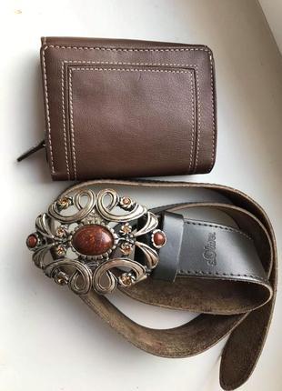 Шикарный кожаный ремень s.oliwer. в подарок кошелек
