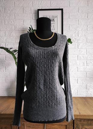 Лонгслив свитер пуловер zara , хлопок, шелк,ангора, серый,косы...