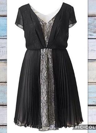 Потрясающее платье из шифона и атласа, красивый пошив