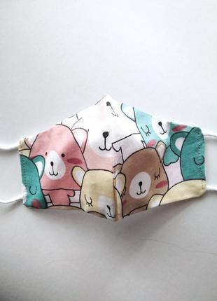 Маска дктская с мишками защитная для лица хлопковая