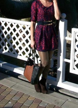 Платье осень/зима. цвет коралл/синий. состояние идеальное. р-р...