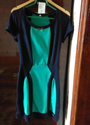 Платье весна-лето l. идеальное состояние.cине-бирюзовый цвет. ...