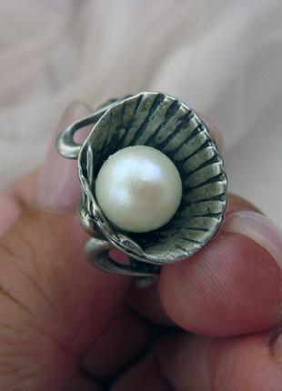 Серебряное кольцо, ракушка, серебро 925, натуральный жемчуг