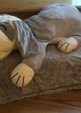 Подушка игрушка собачка с пледом