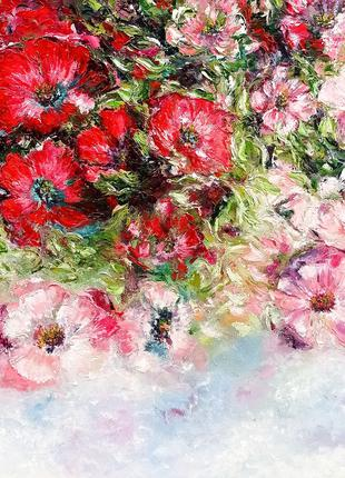 Картина маслом интерьерная Нежные цветы