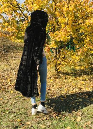 Шуба длинная с капюшоном норковая эко мех норки