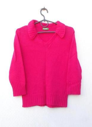 Осенний зимний 100% шерстяной вязаный свитер с воротником с ру...