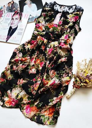 Оригинальное платье цветочный принт кружево