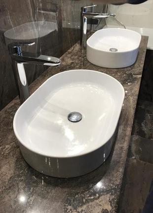 Тумба под раковину в ванную с мраморной столешницей