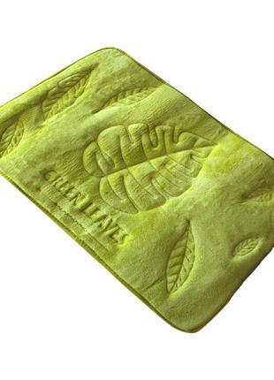 Ванный коврик bathlux green leaves антискользящий хлопковый