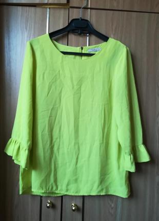 Блуза лимонного цвета с рюшами на рукавах