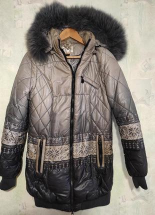 Зимняя, стеганная, теплая куртка, пуховик на утеплителе - холо...