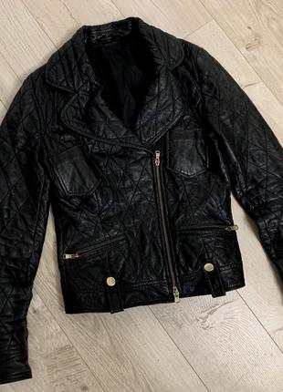 Кожаная куртка косуха натуральная кожа размер с/м