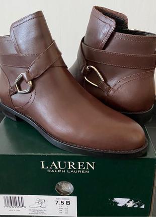Новые кожаные женские коричневые демисезонные ботинки ralph laure
