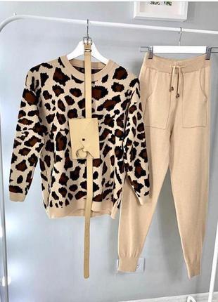 Вязаный костюм леопардовый принт ягуар