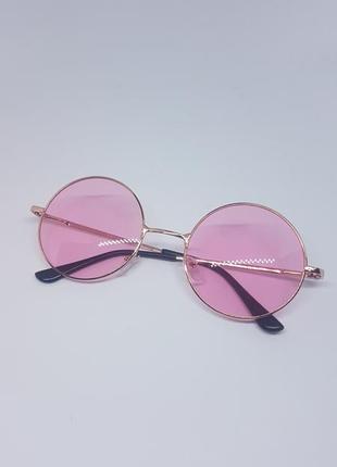 Женские солнцезащитные / имиджевые очки круглые розовые