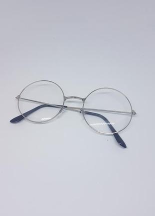 Имиджевые очки круглые / нулевки очки унисекс в серебристой оп...