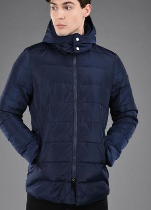 Пуховик, мужской, зимний, тёплый, лёгкий, с капюшоном, синий, ...