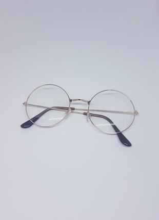 Имиджевые очки круглые / нулевки унисекс в оправе розовое золото