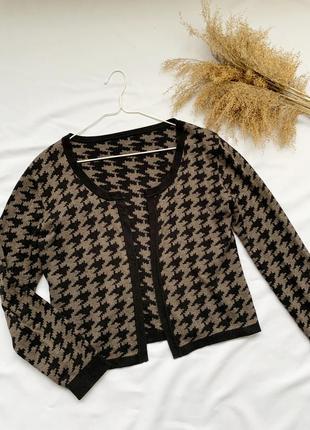 Кардиган, кофта, джемпер, пуловер, гусиная лапка, гусяча лапка