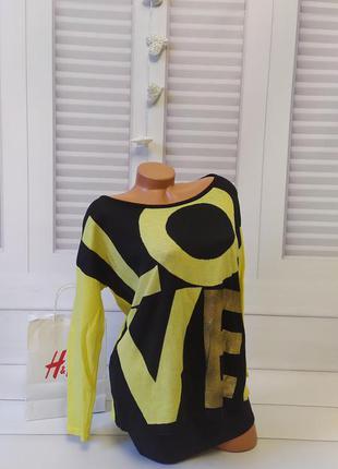Свитшот свитер кофта джемпер пуловер оверсайз черный жёлтый, s/m