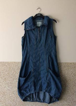 Стильное джинсовое платье -сарафан