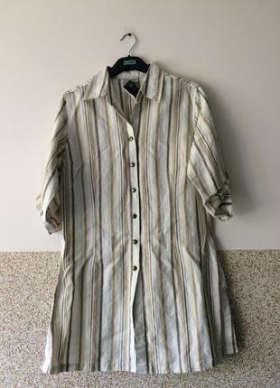 Длинная льняная блузка