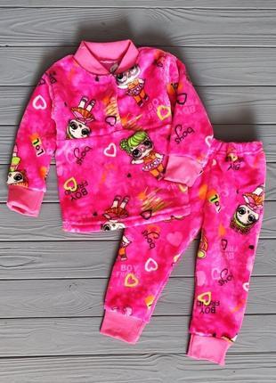 Теплая пижама для девочек (махровая)