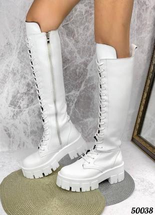 🔥 крутые кожаные белые сапоги на тракторной подошве на шнурках