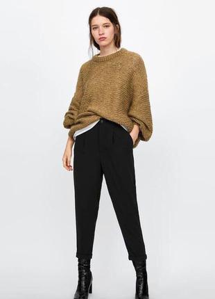 Черные зауженные брюки с подворотами zara