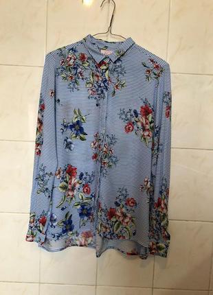 Блуза рубашка в полоску zara h&m mango