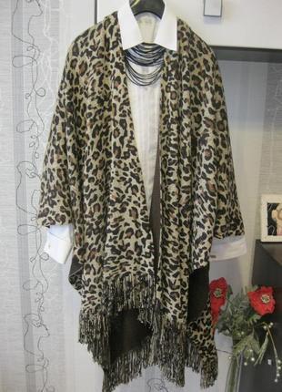 Палантин кардиган леопардовый накидка пончо-плед уютно 56-58-6...