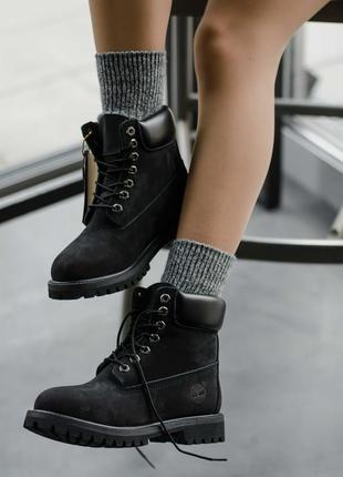 Ботинки зимние timberland black (на меху)