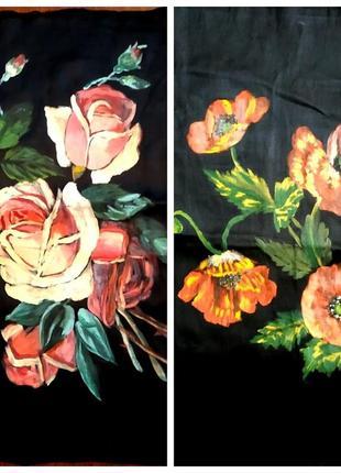 Картины маслом ручная роспись ткани, авторские, цена указана за 2
