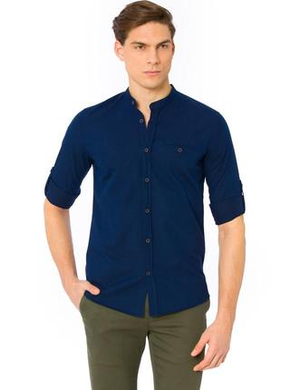 Синяя мужская рубашка lc waikiki в голубую тонкую полоску с во...