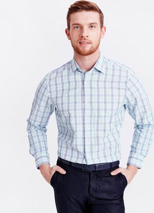 Белая мужская рубашка lc waikiki в мятную и синюю клетку, с ка...