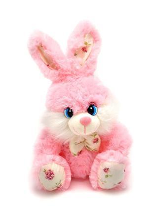 Мягкая игрушка зайчик розовый 28 см