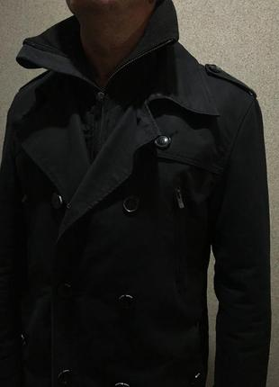 Элегантный чёрный пиджак плащ куртка пальто классический