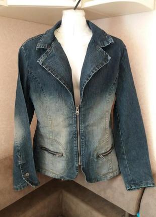 Синяя джинсовая куртка -пиджак-бренд-clockhouse-14h
