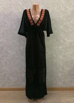 Платье макси пляжное с гипюром и кружевом размер 12-14