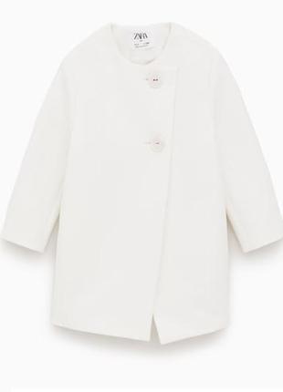 Белое пальто zara