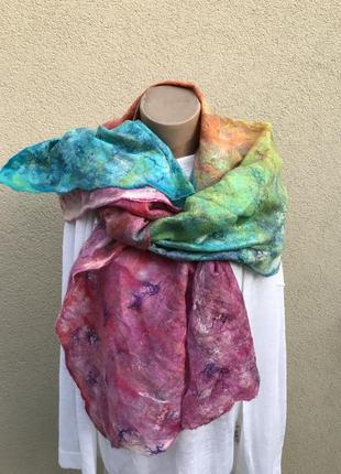 Большой,тонкий шарф,палантин,платок из валяной шерсти